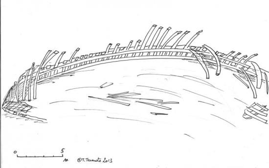 schets van het wrak